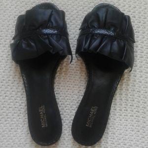 Michael Kors Bella Ruffled Leather Slide Sandal